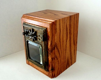 RED OAK Safe with 1901 Bronze Starway USPS Door Post Office Retirement Lock Box Bank Groomsman Wedding 5th 8th Anniversary Guy Man lockbox