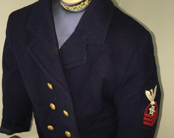 Vintage Boy's Pea Coat with Matching Hat