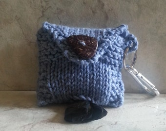 Denim Doggy Waste Bag Holder Dog Poop Dispenser Handknit Cotton Fabric Carabiner Clasp Coconut Button
