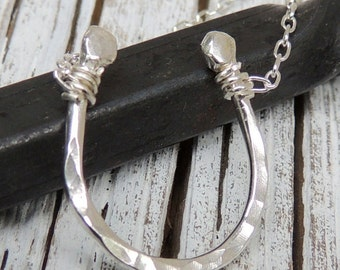 silver horseshoe Necklace - Charm Necklace,  Bridesmaid Necklace, bridal jewelry