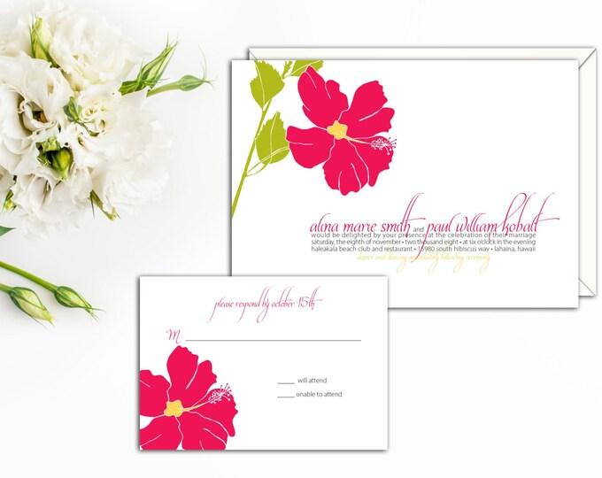 Hibiscus Blossom Wedding Invitation, Garden Wedding Invitation, Floral Wedding Invite, Floral response Cards, Hibiscus thank you, Invitation