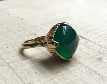 SALE Green Onyx and Bronze- The Amphora Ring