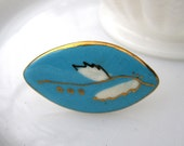 Normandy Ring - 1950's vintage painted porcelain on adjustable ring - Free Shipping to USA