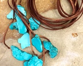 Turquoise howlite and leather tassel necklace