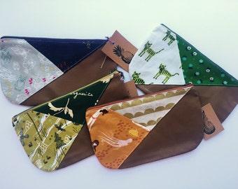 Tri-colored clutch - tan leather