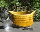 Reserved for Jackie til 11/18 - Homer Laughlin Coventry Stoneware - Vintage Gravy Boat and Gravy Ladle - Castilian Mandala in Harvest Gold