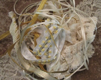 Assorted Trims For Crafting - Gold and Cream Lace/Ribbon