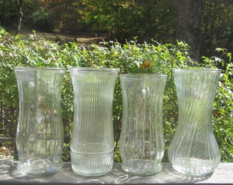 Large Vintage Clear Glass Vases - Choice of One of Four - Vintage Wedding - Holiday Decor