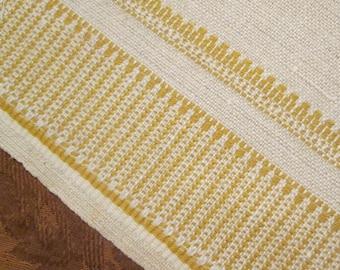 Four Vintage Woven Linen Placemats - Natural/ Gold