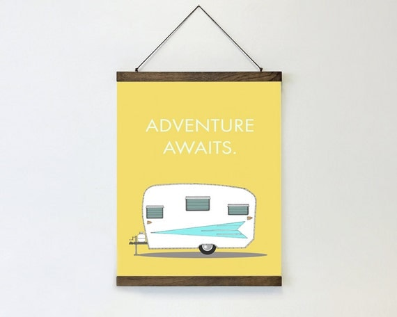 "wall hanging, poster, hanging poster, large art, large wall art, modern, retro camper, vintage camper, canvas wall art - ""Adventure Awaits"""
