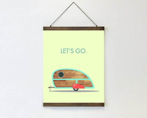 "wall hanging, poster, hanging poster, large art, large wall art, modern, retro camper, vintage camper, canvas wall art, blue - ""Let's Go"""