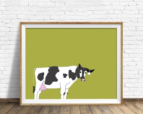 "cow print, dairy cow, black and white cow, large art, large wall art, kitchen wall art, kitchen art, cow art, green art, wall art -""Mad Cow"""