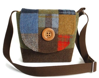 Harris Tweed - One-of-a-Kind - Patchwork Crossbody Satchel - Messenger - Purse - Tartan - Check