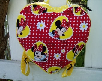 My Carrie Toddler/Childs Padded Heart Shaped Backpack made with Disney's Minnie Mouse Fabric
