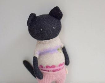 handmade cat Critter Monster doll OOAK doll with heart eco toy upcycled wool sweater Baby shower gift dark grey soft plush bubynoa critters