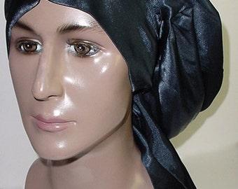 Sleep Slumber Hat Cap Natural Hair Locs Navy- Charmeuse Satin
