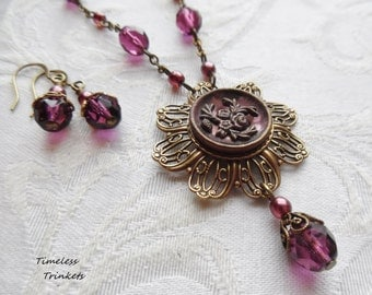 Antique Button Necklace, Mulberry