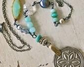 Bohemian gemstone necklace.layering crystal pearl oxidized sterling silver boho jewelry. tiedupmemories