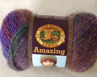 Lion Brand Amazing Yarn in Wildflowers, mix of purples and brown, destash yarn