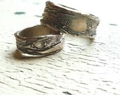 Unique Wedding Rings, Silver Wedding Bands, Eco Friendly Wedding Jewelry, Handmade Silver Wedding Rings, His and Her Set, Tree bark, nature