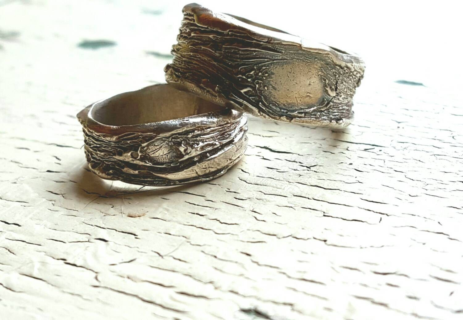 his and hers rings mudding wedding rings Wedding Rings Tree Bark His and Hers Set Recycled Silver Unique Primitive Nature Unisex LGBTQ Couples BIG and LITTLE Tree Knot Bands