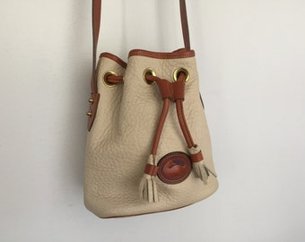 Vintage Dooney & Bourke Small Drawstring Bucket Bag.