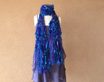 Blue and Purple Scarf with Teal Turquoise Ribbon Scarf, Sparkle in Fringe, Hand Knit Crickets Creations Scarf