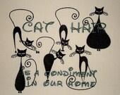 Cat Hair is a Condiment - Tea Towel - Cat Silhouette