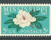 Pack of Ten .. 5c Mississippi Statehood with Magnolia .. issue of 1967 .. Vintage Unused US Postage Stamps