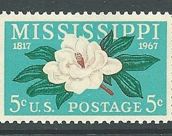 Pack of Ten .. 5c Mississippi Statehood with Magnolia .. issue of 1967 .. Vintage Unused US Postage Stamps
