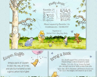 Classic Winnie-the-Pooh Baby Shower Invitation - Classic Pooh Party Neutral Theme - Boy, Girl, Unisex - Classic Pooh Birthday Party