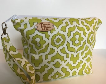 Poison Green Lattice Knitting Project Bag
