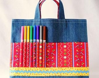 Crayon Tote • Crayon Bag • Coloring Bag • Art Tote • Crayon Holder • Crayon Roll • Flower Girl • Busy Bag • ARTOTE • Bird in the Hand