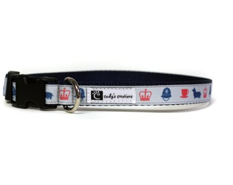 5/8 or 3/4 Inch Wide Dog Collar with Adjustable Buckle or Martingale in Corgi in London an Exclusive Design