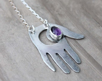 Amethyst Lunar Palm Necklace - Sterling Silver