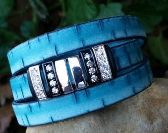 Leather Wrap Bracelet, Flat Leather Turquoise, Triple Wrap Cuff Bracelet with CZ Spacers and Magnetic Clasp