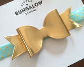 Gold Bow Headband // Gold Bow Hair Clip // Mint and Gold Elastic // Faux Gold Leather // Photo Prop // Baby Headband // Mini Bow // dots