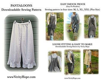 Money saving pattern bundle / Easy Smock Frock / pantaloons / downloadable / sewing pattern/  PDF / digitel / epattern / pinterest