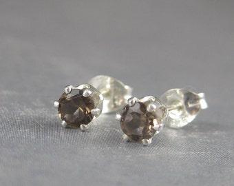 Smoky quartz studs, smoky quartz earrings, autumn color earrings, fall earrings, brown gemstones, quartz jewelry, fall