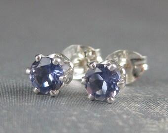 Iolite gemstone post earrings, natural blue stone earrings, sterling silver studs, blue gemstone studs, genuine gemstone, natural gemstone