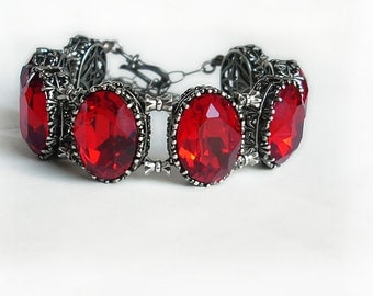Red Bracelet Tennis Bracelet Siam Red Swarovski Bracelet red crystal bracelet Gothic Bracelet gothic Jewelry silver filigree gift for women