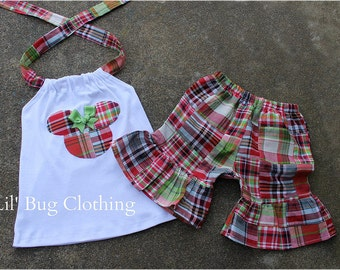 Minnie Mouse Outfit, Minnie Mouse Short Halter Outfit, Minnie Mouse Madras Outfit, Custom Boutique Minnie Outfit,