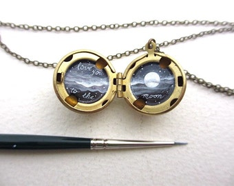 Love You to the Moon Necklace, Oil-Painted Locket Miniature Made by Hand