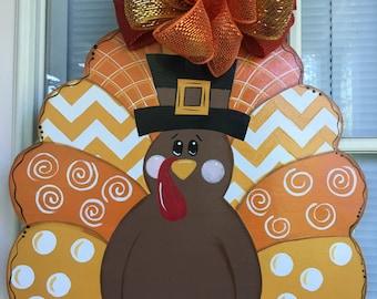Front door decor front door decorations fall door hanger Thanksgiving turkey door hanger & Thanksgiving Turkey Door Hanger by ReLoved Treasure Fall door Pezcame.Com