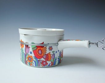 Vintage Royal Crown porcelain sauce pan, cooking Pot - colorful birds and flowers - Paradise pattern