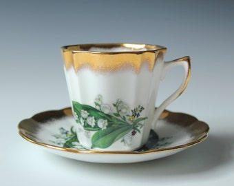 Lily of the valley Royal Dover China vintage hand painted floral cup & saucer fine bone China