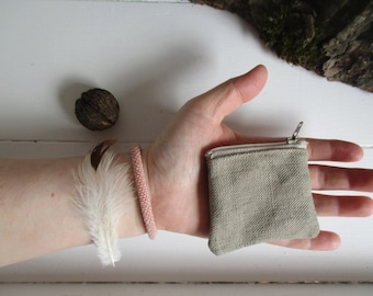 a tiny linen coin purse The Coin Collector by may.tree.ark mini zipper change pouch minimalist Flea Market cash fund purse Gray waxed canvas