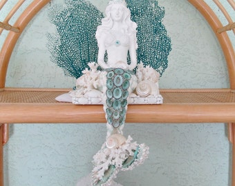 Mermaid with Shells, Mermaid Sculpture Sitting, Mermaid Shelf Sitter,Mermaid Coral Reef,Coastal Beach Mermaid Figurine,Mermaid Statue OOAK