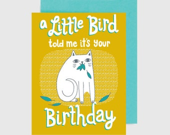 Cat Birthday Card - Little Bird