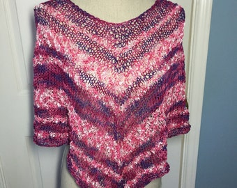 Hand Knit Poncho in Purple and Pink
